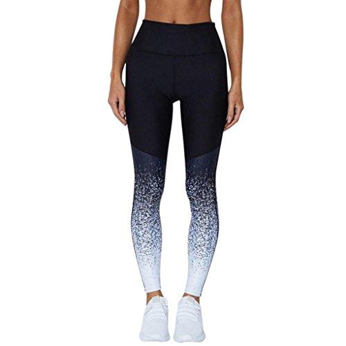 GreatestPAK Leggings des Femmes, Pantalons Courts de Sport de Sport d'entraînement de Gymnastique Maigre d'entraînement d'impression 3D (Bleu-5, L)