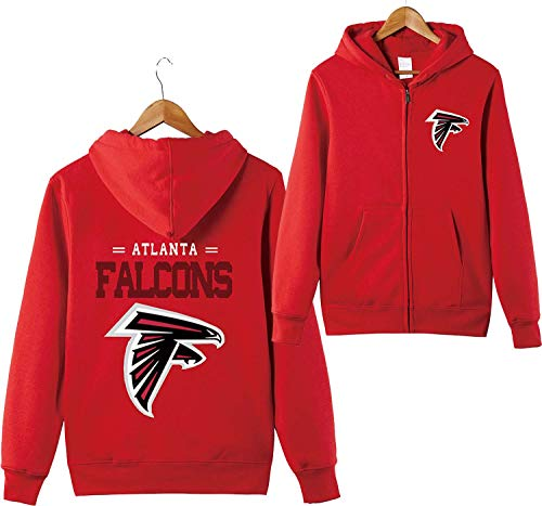 ZXTXGG Männer 3D Hoodies Atlanta Falcons NFL Football Team Uniform Muster Digitaldruck Strickjacke Reißverschluss Liebhaber Kapuzenpullis(L,Rot) Atlanta Falcons Uniform