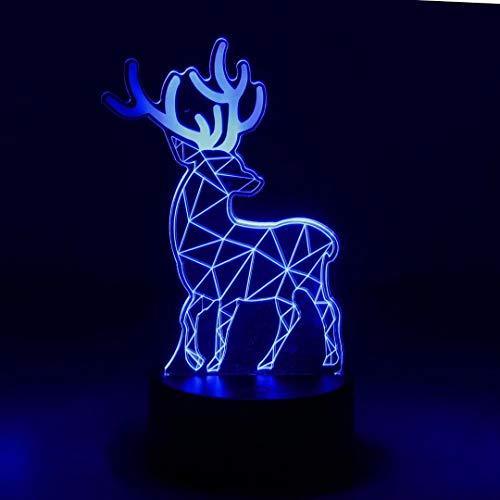 NUÜR 3D-Lichtquelle mit optischer Täuschung - 7 LED-Farbwechsellampe mit Fernbedienung - Deer Shape Design Unicorn-Battery-Option und USB-Kabel-Option