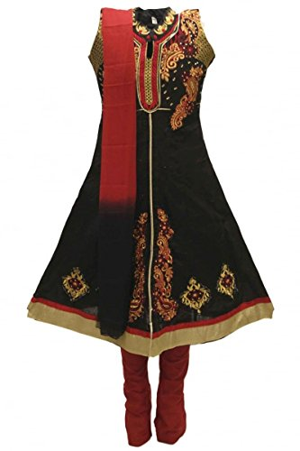 Dress Billig Fancy Childrens (GCS3288 Black und Maroon Girl's Churidar Anzug Indian Bollywood Fancy Dress 24 (approx 4-5)