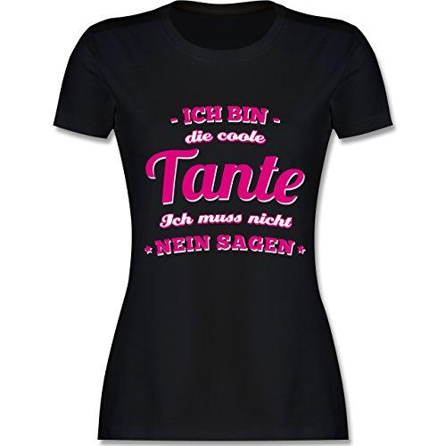 Shirtracer Schwester & Tante - Ich Bin Die Coole Tante - Damen T-Shirt Rundhals Schwarz