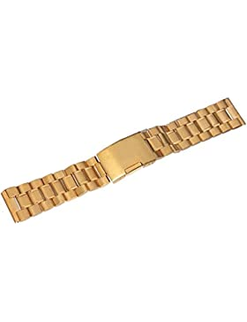 Uhrenarmband - TOOGOO(R) Edelstahl Uhrenarmband 20mm Uhren Armband Uhrenband Metall uhrband Gold