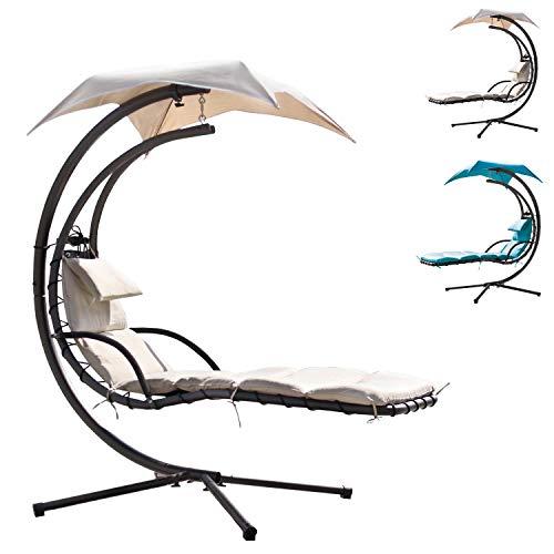 Miganeo® Schwebeliege H 200, L 194, B 104 cm 2 Farben wählbar Relaxliege Schaukelliege Hängematte (Metall, Beige)