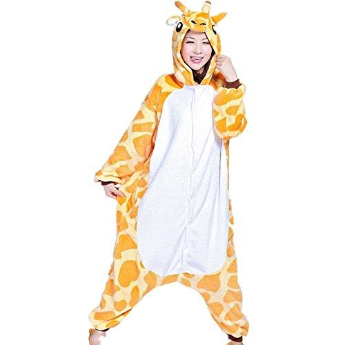 misslight Giraffe Pyjama Damen Jumpsuits Tieroutfit Tierkostüme Schlafanzug Tier Sleepsuit mit Giraffe Kostüme Festival tauglich Erwachsene (XL, Giraffe)