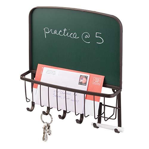 mDesign Briefablage und Schlüsselleiste aus Stahl – für ordentliche Aufbewahrung von Schlüsseln, Briefen, Prospekten – mit Tafel zum beschriften – Schlüsselbrett mit Ablage – Farbe: Bronze