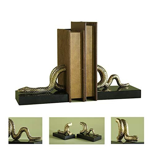 WQSD Schlange Bookcase Office Buchstützen Schwere Und Küchenbücher Dekorative Bücherregale Bookends Handgeschnitzte Traditionelle 2-teilige Sets, 14.5 * 8.5 * 11cm (Gold Schwarz) -