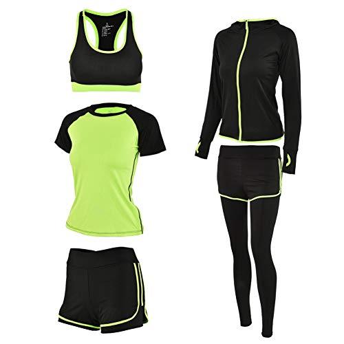 Zer one Frauen Yoga Anzug, 5 Stück Frauen Sport Anzug Set Frauen Yoga Fitness Gym Trainingsanzüge Sport-BH Kurzes Hemd + Jacke + Kurze Hose + Lange Hose(XL-Grün) (Kurze Sport-jacke Für Frauen)