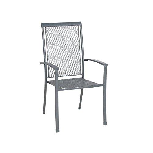 greemotion Stapelstuhl Toulouse Premium eisengrau, Stuhl mit kunststoffummanteltem Stahl,...