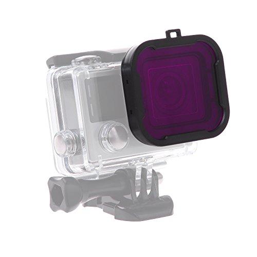 luxebell-filtro-de-buceo-purpura-para-gopro-hero-4-black-silver-y-hero3-carcasa-estandar-purpura