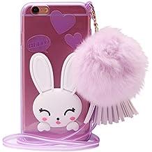 Funda iPhone 5s,ZXK CO Funda del Silicona TPU para iPhone 5/5s Transparente Carcasa Anti-caída Diseño Conejo Con la Cuerda Delgada Plegable Cover Caso Suave Case-Violado