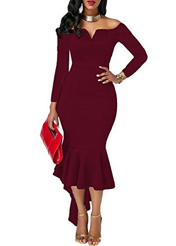 KISSMODA Frauen Schwalbenschwanz Rock tragen zu arbeiten Prom Dress Pencil Dress Long Sleeves Weinrot - Tragen Frauen