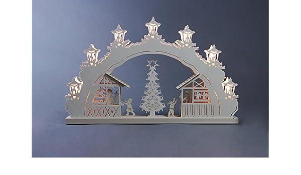 Schwibbogen Weihnachtsmarkt Länge ca 52cm NEU Motivleuchte Lichterbogen Erzgeb