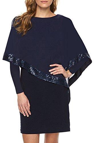 YMING Damen Langarm kleid Pailletten Patchwork Minikleid Chiffonkleid Abendkleid,Blau,XS / DE 32-34 (Zurück-jersey-kleid)