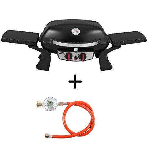 TAINO Tischgrill Kompakt-Grill Gasgrill Gas Tisch Edelstahl-Brenner BBQ Camping (Tischgrill 2.0 + Druckregler) -