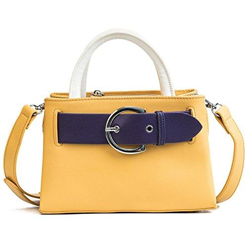DCRYWRX Frauen Umhängetasche Mode Griff Casual Tote Pu-Leder Handtaschen Retro Geldbörse Große Kapazität Work Package Clutche Tasche,Yellow