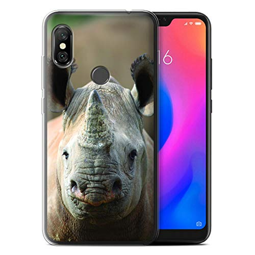 Hülle Für Xiaomi Redmi Note 6 Pro Wilde Tiere Nashorn Design Transparent Dünn Flexibel Silikon Gel/TPU Schutz Handyhülle Case