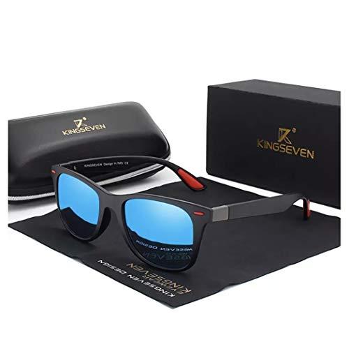 KINGSEVEN Tough Herren Polarisierte Sonnenbrille 2019 Square Fashion, (schwarz/blau), Medium