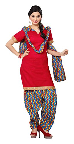Nellai Sarees Women's Cotton Unstitched Dress Material (Red)