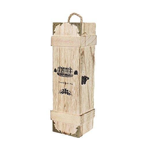 Langlebige Wein-Kasten-Einzelne Flasche Retro- Hölzerne Hölzerne Farbe Mit Stoßfestem Papierstreifen-Metallverschluß-Karten-Brett-Entwurf, Sicherer Wein-Geschenkbox-Hochzeits-Geburtstags-Valentinsgruß-Geschenk