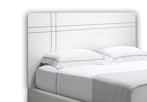 SUENOSZZZ- Cabecero en Madera Color Blanco y Negro. Mod Greca. (Gris) (Camas 120-135-140-150-160 cm) Medida: Ancho 160 cm x Alto 95cm x Grosor 16 mm.