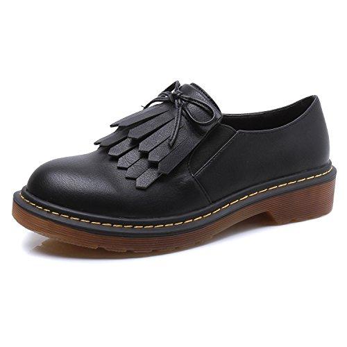 Smilun Damen Schnürschuhe mit Absatz Westernabsatz Blockabsatz Leder Schwarz EU41