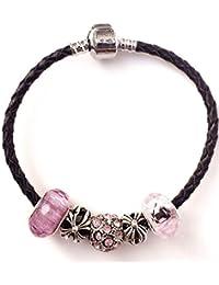 a9411c5adb21 keyi Le Craft cuentas Kits DIY hecha a mano piel perlas de cristal pulsera ( Negro