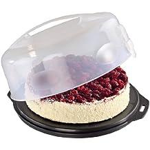 Xavax Kuchenbehälter rund mit Deckel (Kuchentransportbox Ø 28,5 cm, Innenhöhe 8 cm, Kuchenbox mit Stückeinteilungshilfe, Haube und Servierfächern, Party- und Tortenbutler) Tortenplatte anthrazit