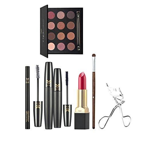 Sharplace 7 en 1 Kit Cosmétique Palette de Fard à Paupières Rouge à Lèvres Msacara Stylo Eyeliner/Soucils Pinceau de Maquillage Pince à Cils Curl