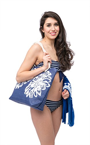 Telo Mare + Borsa da Spiaggia Donna + Infradito 3 Pezzi Impostare Pattern Floreale Airee Fairee Blu