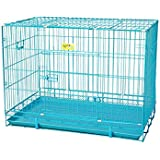 Perfect Choice High Quality Metal Cage 18 Inches Single Door In Blue Colour Foldable And Carriable