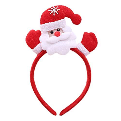Longsw Weihnachts-Haarreif, rotes LED-Licht, Party-Ornament, leuchtendes Schneemann-Haarband
