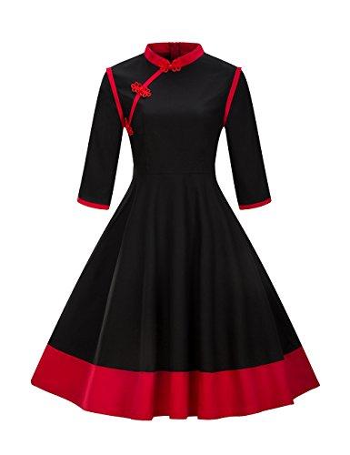 VKStar® Retro 50er Jahre Damen Rockabilly Kleid langarm Knöpfen Kleid Stehkragen Abendkleid Schwarz M