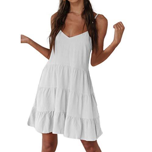 LOPILY Damen Minikleid Kleider Einfarbig Einfach Bequem Freizeit Sommerkleider Gekräuselte Geraffte Saum Reizvolle Rückenfrei Strandkleid Kleider Partykleid(Weiß,EU-40/CN-L)