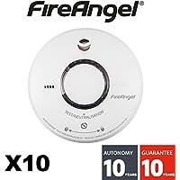 FireAngel–Set di 10Rilevatore di fumo NF Fireangel ST620–Durata 10anni–Garanzia 10Anni