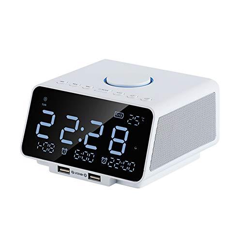 reloj de pared Smartwatch, multifunktional, mit Bluetooth-LED, leise, Wecker für Nacht, USB-Ladegerät, Weiß/Schwarz weiß