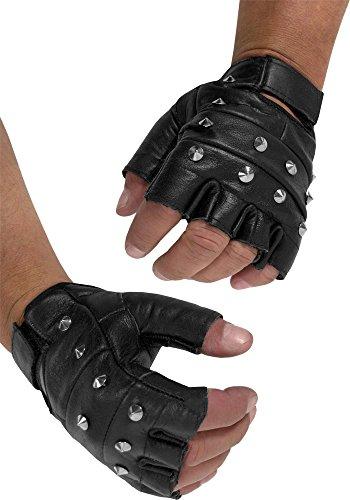 Lederhandschuhe ohne Finger mit Nieten - echtes Leder Farbe Mit Nieten Gr??e L (Nieten Herren)