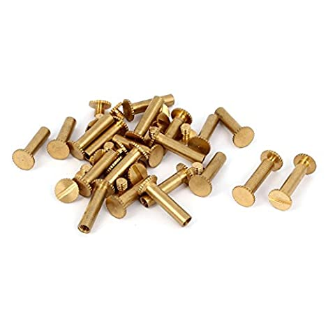 sourcingmap® M5x18mm Photo Albums Scrapbook Slotted Knurling Brass Binding Screw Post 20 Pcs