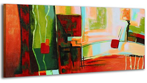 100% HANDGEMALT + Zertifikat   115x50 cm   YS-Art Acryl Gemälde Graffiti   Bild auf Leinwand und Holzrahmen   Bilder Handarbeit   Wand Bild Unikat   1-Teilig   Moderne Kunst (RR-060)