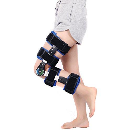 Einstellbare Post (Wgwioo Scharnier Kniestütze Einstellbare Post Patella Unterstützung Stabilisator Pad Orthese Splint Wrap Medizinische Orthopädische Schutzfolie,Black)