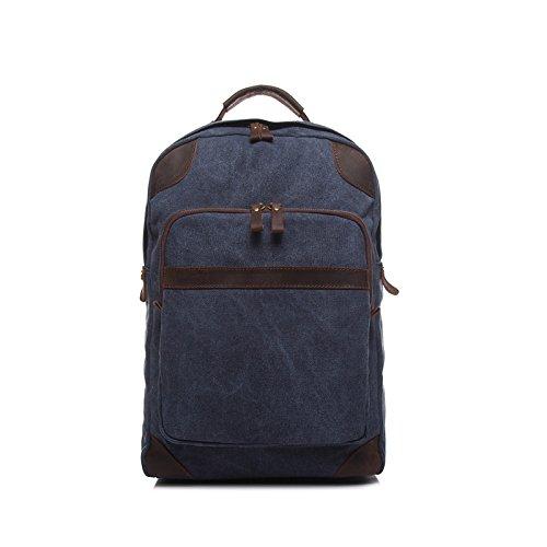 BAGEHUA uomini retrò zaino in tela onorevoli Fashion resistente Travel zaini studenti borse per notebook (larghezza 35cm alta 40cm spessa 12cm) Cammello Navy Blue
