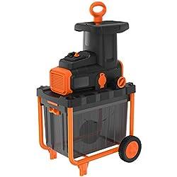 BLACK+DECKER BEGAS5800-QS Broyeur de végétaux filaire - Capacité de broyage : 45 mm - Bac collecteur de 45 L - Coupe et broyage par couteaux rotatifs 2800W, Orange