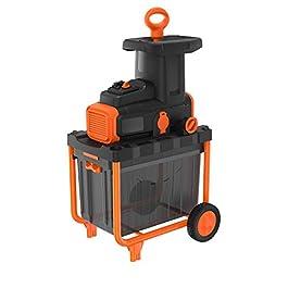 BLACK+DECKER BEGAS5800-QS Broyeur de végétaux filaire – Capacité de broyage : 45 mm – Bac collecteur de 45 L – Coupe et broyage par couteaux rotatifs 2800W, Orange