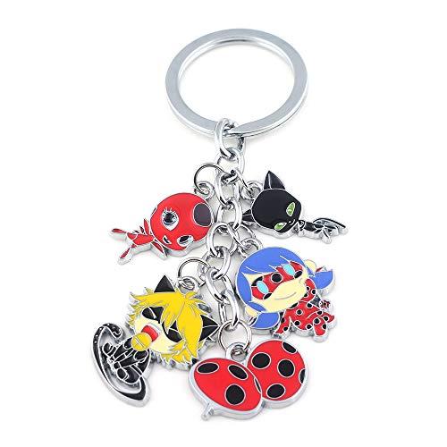 3dcrafter Ladybug Cat Noir Keychain Charm Pendant Tikki Plagg kwami Schlüsselanhänger