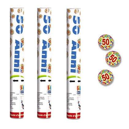 3x Cannone Tubo Sparacoriandoli 50 Anni, compleanno, anniversario, feste o party