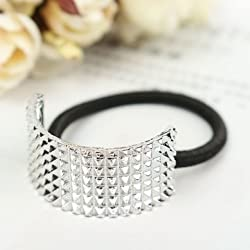 Generic Silver Metal Hair Band Cuff Rope Half Circle Decoration Ponytail Holder