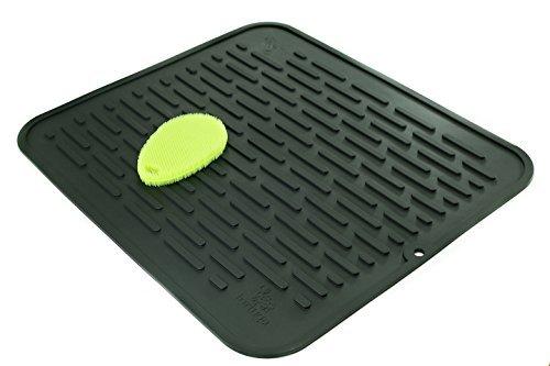 Extra große Silikon dish-drying Matte & hitzebeständig Untersetzer   antimikrobiell, antibakteriell   45,2x 40cm xl schwarz