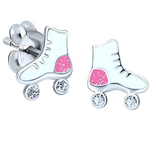Ohrringe mit Rollschuhen, Sterling-Silber 925, Weiß/Pink