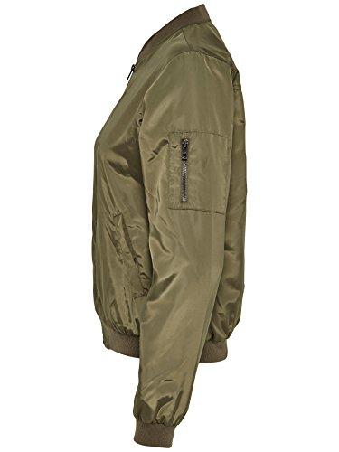 ONLY Damen Blouson Piloten- Bomber- Jacke LINEA NYLON SHORT JACKET NOOS khaki-grün (Tarmac)