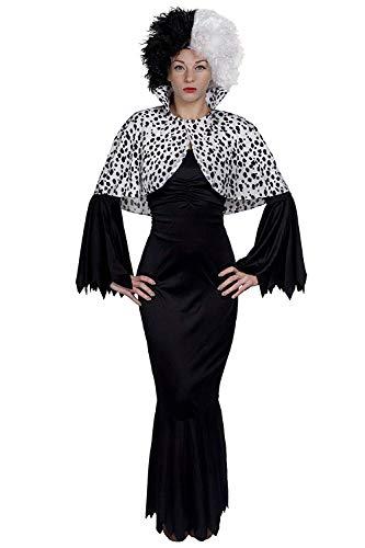 Kostüm für gemeine Hundefrau–langes, schwarzes Kleid, Perücke schwarz / weiß + Umhang, in Größen XS–XXXL perfekt für Halloween