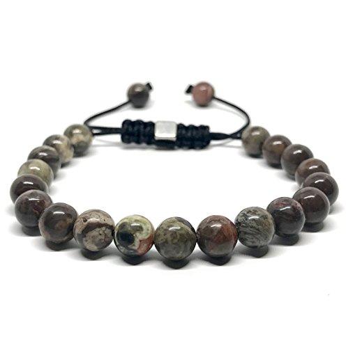 GOOD.designs Shamballa-Bracciale in vera Naturale-pietre Diaspro, Chakra-ciondolo, motivazione-braccialetti (oceano diaspro)